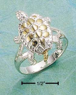 STERLING SILVER /GOLD TWO TONE MOVEABLE TURTLE RING