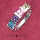 925 SILVER RAINBOW PRINCESS CUT CZ RING