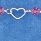 "SILVER 6"" HEART & PINK CRYSTAL LINK CHILD'S BRACELET W/ PUFF HEART DANGLE"
