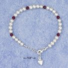 PEARL AND RED CRYSTAL CHILD'S BRACELET W/ PUFF HEART DANGLE