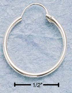 "STERLING SILVER 18MM TUBULAR HOOP WITH ""U"" WIRE EARRINGS"