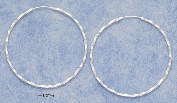 "STERLING SILVER HP 2 1/2"" TWISTED TUBULAR HOOP W/ ENDLESS CLOSURE"