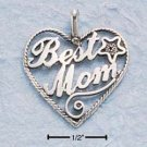 "SILVER LARGE ANTIQUED HEART W/ ""BEST MOM"" CHARM"