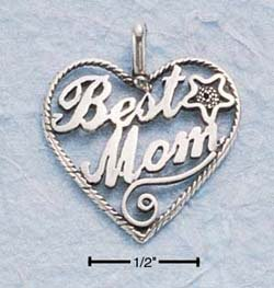 """SILVER LARGE ANTIQUED HEART W/ """"BEST MOM"""" CHARM"""