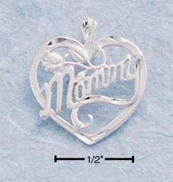 """STERLING SILVER DC """"MOMMY"""" IN HEART CHARM"""