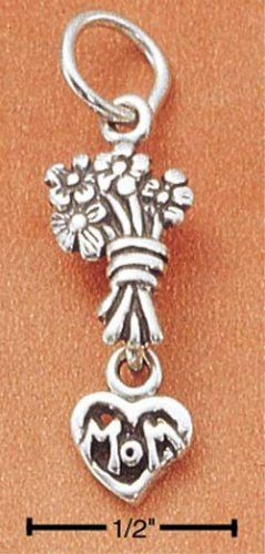 """STERLING SILVER FLOWERS & """"MOM"""" HEART CHARM"""