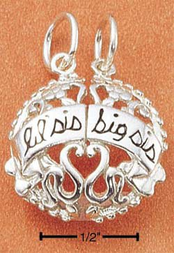 "STERLING SILVER ""LIL SIS/ BIG SIS"" TWO PIECE CHARM"