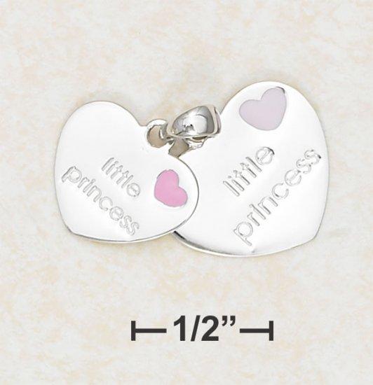 "DOUBLE HEARTS ""LITTLE PRINCESS"" WITH ENAMEL HEART CHARM."