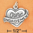 "STERLING SILVER ""OUR ENGAGEMENT"" HEART CHARM"