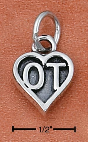 "SILVER ""OT"" OCCUPATIONAL THERAPIST HEART CHARM"
