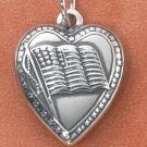 STERLING SILVER HOLLOW HALFBACK HEART/ AMERICAN FLAG CHARM