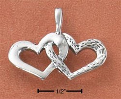 STERLING SILVER ANTIQUED DOUBLE HEART CHARM