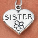 """STERLING SILVER """"SISTER"""" WITH FLOWER ON HEART CHARM"""