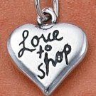 "STERLING SILVER ""LOVE TO SHOP"" HEART CHARM"