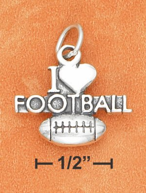 """SILVER ANTIQUED """"I HEART FOOTBALL"""" WITH FOOTBALL CHARM"""