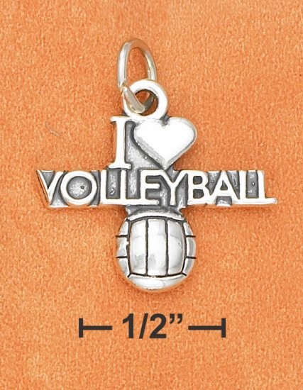 """SILVER ANTIQUED """"I HEART VOLLEYBALL"""" W/ VOLLEYBALL CHARM"""
