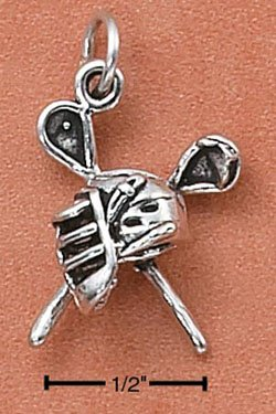 STERLING SILVER LACROSSE STICKS AND MASK CHARM