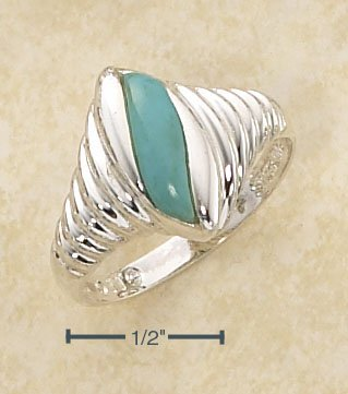 STERLING SILVER  MARQUIS SHRIMP RING W/ TURQUOISE   INSET