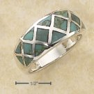 STERLING SILVER  CROSS HATCH TURQUOISE INLAY RING