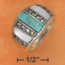 STERLING SILVER TURQUOISE/MOP/MARCASITE  DOME RING