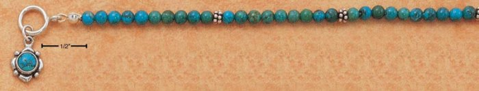 "STERLING SILVER 7"" 4MM ROUND TURQUOISE BEAD TOGGLE BRACELET"