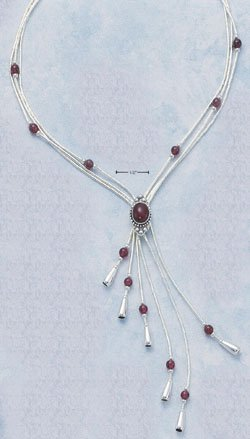 "STERLING SILVER 16""-20"" EXPANDABLE  NECKLACE W/ GARNET & TASSEL"