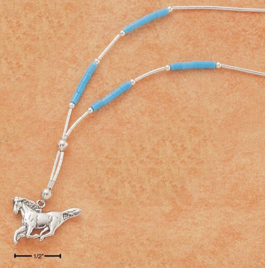 "STERLING SILVER 18""  NECKLACE W/ TURQUOISE & RUNNING HORSE"