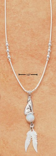 "STERLING SILVER 16""   NECKLACE W/ HOWLING WOLF LAB OPAL / FEATHERS."