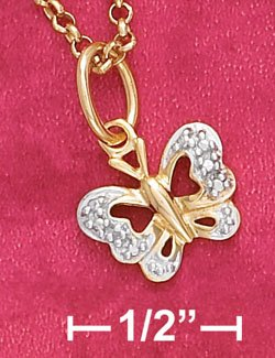 "STERLING SILVER 9"" 18KGOLD  ANKLET W/ BUTTERFLY & DIAMOND CHIPS"