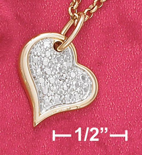 """STERLING SILVER 9"""" 18K GOLD ANKLET W/ HEART & DIA CHIPS"""
