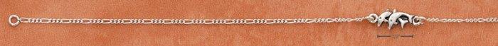 """STERLING SILVER 9""""  ANKLET W/ DOUBLE JUMPING DOLPHINS"""