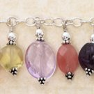 "STERLING SILVER 7.5"" W/ MULTI POLISHED STONES ON  TOGGLE BRACELET"