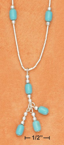 """STERLING SILVER 7"""" LS BRACELET W/ TURQUOISE BEADS"""