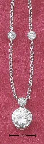 """STERLING SILVER 16""""  9MM ROUND CZ NECKLACE WITH CZ LINK CHAIN"""