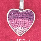 STERLING SILVER 18 IN PINK CZ HEART PENDANT NECKLACE