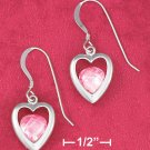 STERLING SILVER PINK ICE HEART FW EARRINGS