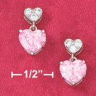 PINK PAVE CZ HEART WITH PINK ICE HEART POST DANGLE EARRINGS