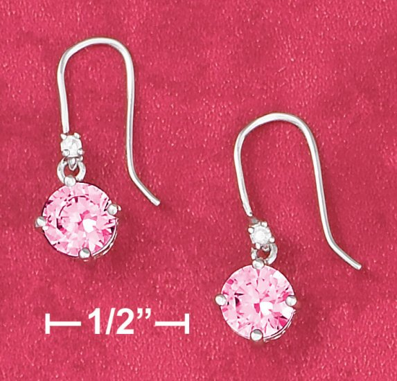 STERLING SILVER RP 6.5MM PINK ROUND BASKET SET CZ EARRINGS