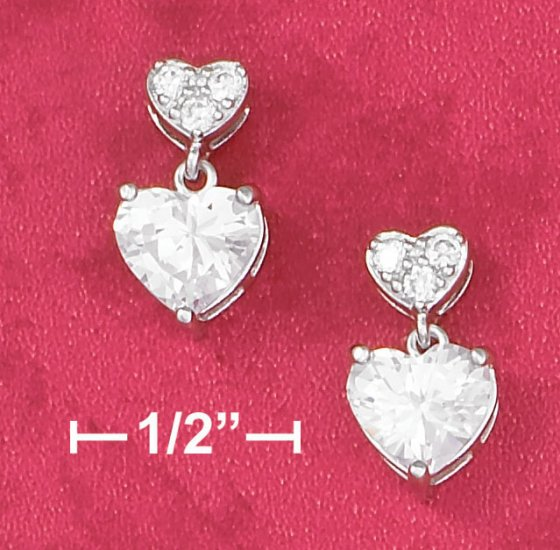 STERLING SILVER RP SMALL PAVE CZ HEART W/ LARGE CZ HEART POST DANGLE EARRINGS