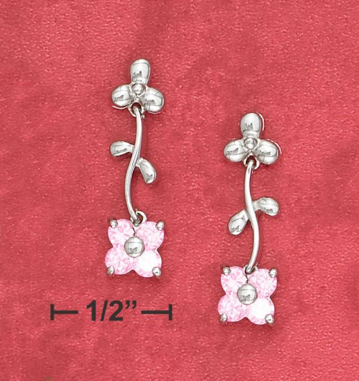 """STERLING SILVER  MOVEABLE PINK ICE FLOWER POST DROP EARS (APPROX 1"""")"""