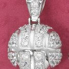 STERLING SILVER 3D LARGE CZ BASKETBALL 18 IN PENDANT
