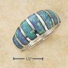 STERLING SILVER   SEVEN STONE INLAY BLUE LAB OPAL DOME RING