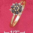 STERLING SILVER 18K VERMEIL SAPPHIRE CLUSTER RING