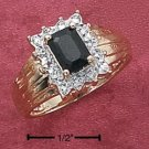 STERLING SILVER VERMEIL GENUINE EMERALD CUT SAPPHIRE RING
