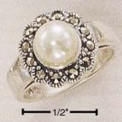 STERLING SILVER MARCASITE FLOWER WITH 7MM FAUX WHITE PEARL RING