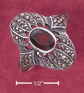 STERLING SILVER MARCASITE 1 CT OVAL GARNET RING