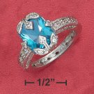 STERLING SILVER 4.5CT SYNTHETIC BLUE TOPAZ RADIANT CUT RING