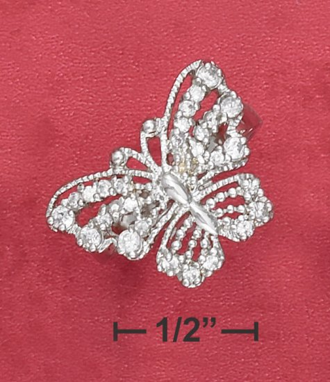 STERLING SILVER   BEADED CZ 21MM BUTTERFLY RING