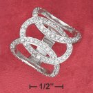 SILVER OPEN INTERLOCKED RING WITH THREE CZ LOOPED O'S
