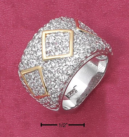 STERLING SILVER 11MM PAVE CZ   TAPERED BAND W/ GOLD  DIAMOND SHAPES